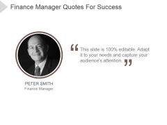 Finance Manager Quotes For Success Ppt PowerPoint Presentation Themes