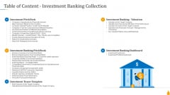 Financial Banking PPT Table Of Content Investment Banking Collection Clipart PDF