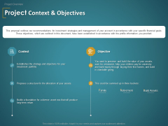 Financial Consultancy Proposal Project Context And Objectives Ppt PowerPoint Presentation Visual Aids Deck PDF