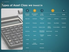 Financial Consultancy Proposal Types Of Asset Class We Invest In Ppt PowerPoint Presentation Icon Format PDF