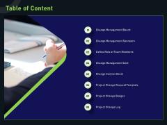 Financial Estimation Revamping Table Of Content Ppt Slides Design Inspiration PDF