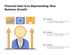 Financial Gain Icon Representing New Business Growth Ppt PowerPoint Presentation File Themes PDF