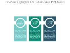 Financial Highlights For Future Sales Ppt Model