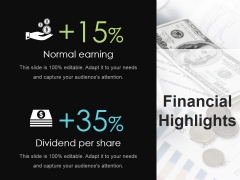 Financial Highlights Ppt Powerpoint Presentation Model Outfit
