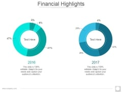 Financial Highlights Template 1 Ppt PowerPoint Presentation Summary Infographics