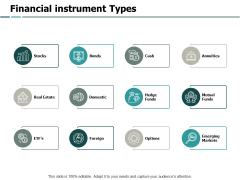 Financial Instrument Types Ppt PowerPoint Presentation Icon Graphics