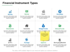 Financial Instrument Types Strategy Ppt PowerPoint Presentation Layouts Vector