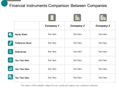 Financial Instruments Comparison Between Companies Ppt Powerpoint Presentation File Slide Portrait