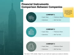 Financial Instruments Comparison Between Companies Ppt PowerPoint Presentation Ideas Design Ideas