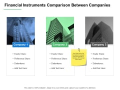Financial Instruments Comparison Between Companies Ppt PowerPoint Presentation Ideas Display