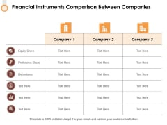 Financial Instruments Comparison Between Companies Ppt PowerPoint Presentation Styles Layout Ideas
