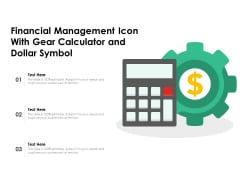Financial Management Icon With Gear Calculator And Dollar Symbol Ppt PowerPoint Presentation File Pictures PDF