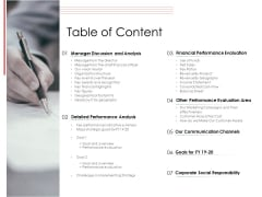 Financial PAR Table Of Content Ppt Infographic Template Show PDF