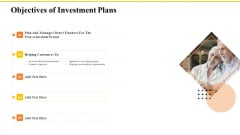Financial Plans For Retirement Planning Objectives Of Investment Plans Ppt Summary Gallery PDF