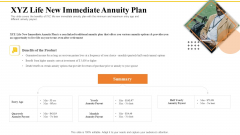 Financial Plans For Retirement Planning XYZ Life New Immediate Annuity Plan Ppt Infographics Background Image PDF