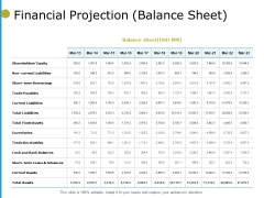 Financial Projection Balance Sheet Ppt PowerPoint Presentation File Graphics