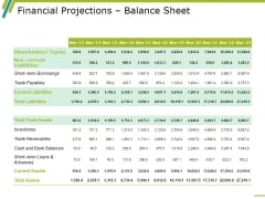 Financial Projections Balance Sheet Ppt PowerPoint Presentation Ideas Tips
