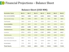 Financial Projections Balance Sheet Ppt PowerPoint Presentation Show Background Image