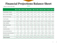 Financial Projections Balance Sheet Ppt PowerPoint Presentation Visual Aids Styles