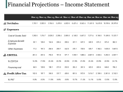 Financial Projections Income Statement Ppt PowerPoint Presentation Model Format