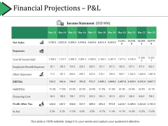 Financial Projections P And L Ppt PowerPoint Presentation Backgrounds