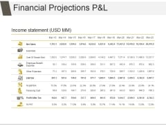 Financial Projections P And L Ppt PowerPoint Presentation Design Ideas