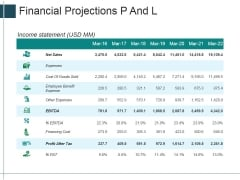 Financial Projections P And L Ppt Powerpoint Presentation Ideas Professional
