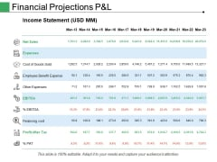 Financial Projections P And L Ppt PowerPoint Presentation Summary Backgrounds
