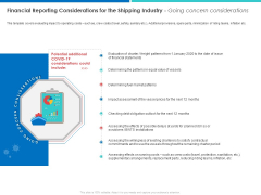 Financial Reporting Considerations For The Shipping Industry Going Concern Considerations Rules PDF