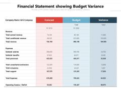 Financial Statement Showing Budget Variance Ppt PowerPoint Presentation File Deck PDF