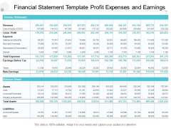 Financial Statement Template Profit Expenses And Earnings Ppt PowerPoint Presentation Model Inspiration