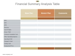 Financial Summary Analysis Table Powerpoint Slide Designs
