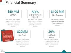 Financial Summary Ppt PowerPoint Presentation Ideas Slide Portrait