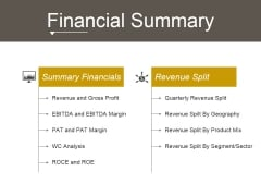 Financial Summary Ppt PowerPoint Presentation Information