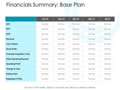 Financials Summary Base Plan Ppt PowerPoint Presentation Show Inspiration