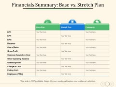 Financials Summary Base Vs Stretch Plan Ppt PowerPoint Presentation Icon Layouts
