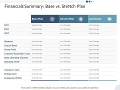 Financials Summary Base Vs Stretch Plan Ppt PowerPoint Presentation Model Clipart
