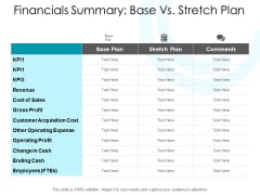 Financials Summary Base Vs Stretch Plan Ppt PowerPoint Presentation Model Microsoft