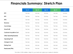 Financials Summary Stretch Plan Ppt PowerPoint Presentation Summary Sample