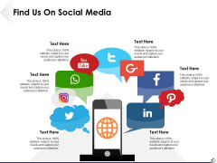 Find Us On Social Media Ppt PowerPoint Presentation Styles Images