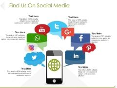 Find Us On Social Media Ppt PowerPoint Presentation Summary Diagrams