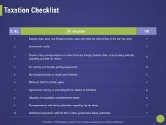 Firm Capability Assessment Taxation Checklist Ppt Infographics Mockup PDF