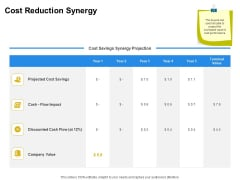Firm Working Together Cost Reduction Synergy Ppt Layouts Deck PDF