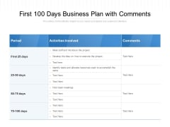 First 100 Days Business Plan With Comments Ppt PowerPoint Presentation File Templates PDF