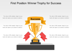 First Position Winner Trophy For Success Ppt PowerPoint Presentation Icon Display