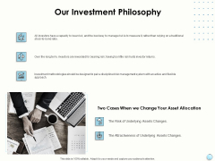 Fiscal Management Our Investment Philosophy Ppt Outline Guidelines PDF