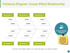 Fishbone Diagram Cause Effect Relationship Ppt PowerPoint Presentation Styles Files