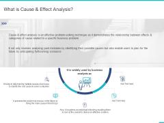 Fishbone Ishikawa Cause And Effect Analysis What Is Cause And Effect Analysis Ppt PowerPoint Presentation Professional Diagrams PDF