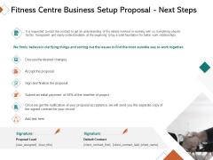 Fitness Centre Business Setup Proposal Next Steps Ppt Ideas Graphic Tips PDF