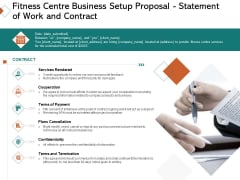 Fitness Centre Business Setup Proposal Statement Of Work And Contract Ppt Model Background PDF